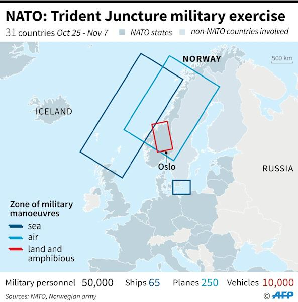 "Map of Europe showing the areas in Norway where NATO will conduct the ""Trident Juncture"" military manoeuvres which start on Thursday. (AFP Photo/Sophie RAMIS)"