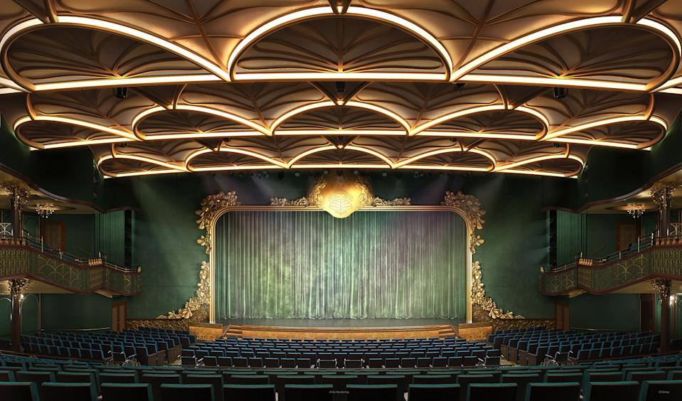 "<p>The Walt Disney Theatre is an opulent show palace that will come alive with original Broadway-style stage productions developed exclusively for Disney Cruise Line. This elegant, 1,274-seat theater will be designed to evoke an enchanted forest, imbuing the atmosphere with a sense of magic inspired by scenes from Walt Disney Animation Studios' legendary film ""Fantasia."" (Disney)</p>"