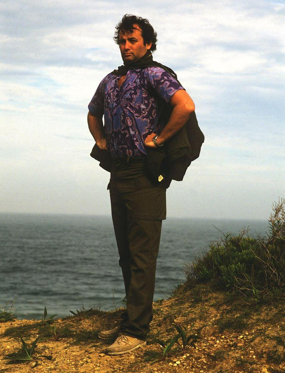 <p>Bill Murray gazes over a seaside cliff-edge during a photoshoot for <em>Rolling Stone</em> magazine in 1981. </p>