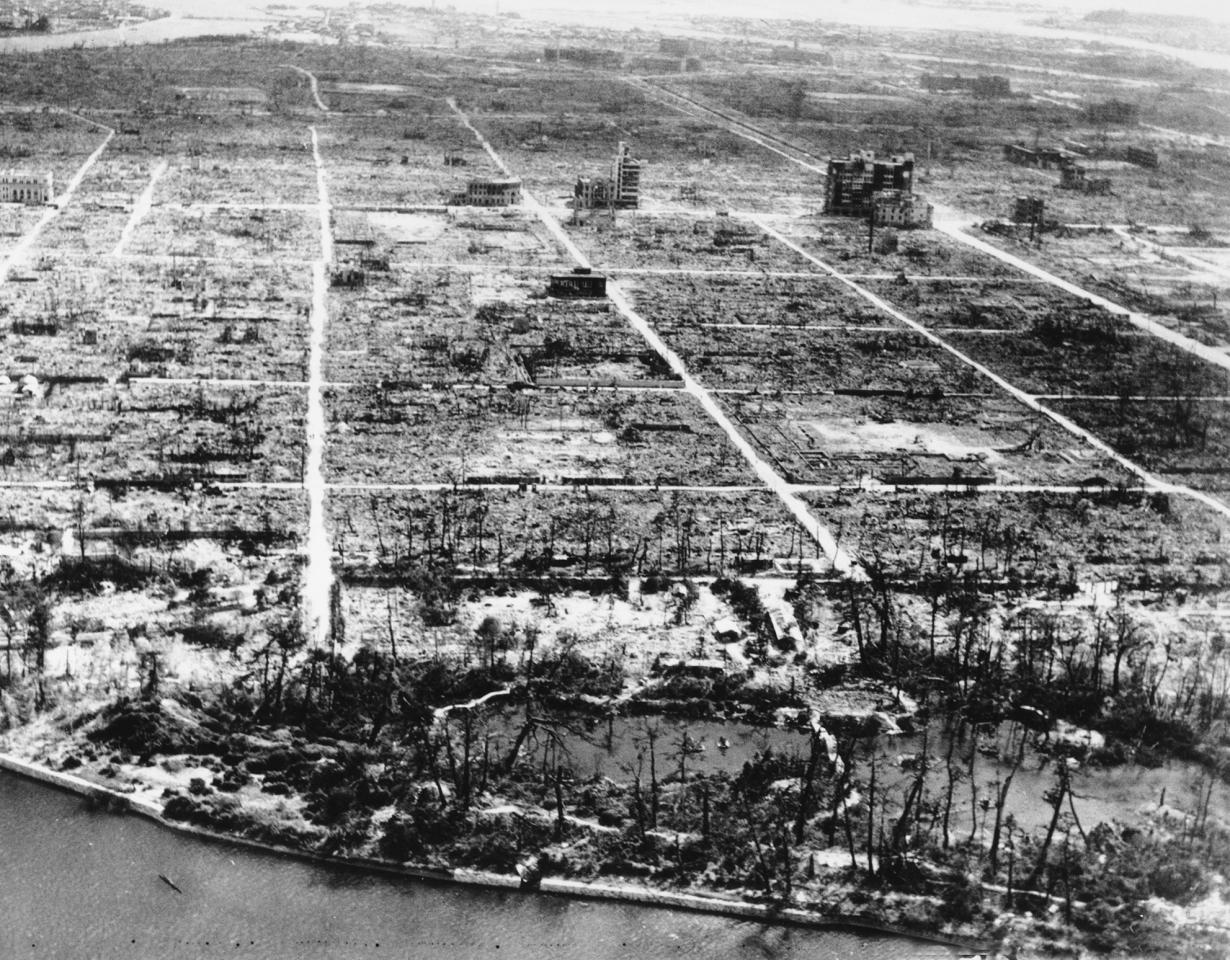 """<p>This photo shows the total destruction of the city of Hiroshima, Japan, on April 1, 1946. The atomic bomb known as """"Little Boy"""" was dropped over Hiroshima on Aug. 6, 1945 during World War II from the U.S. AAF Superfortress bomber plane called """"Enola Gay."""" (AP Photo) </p>"""