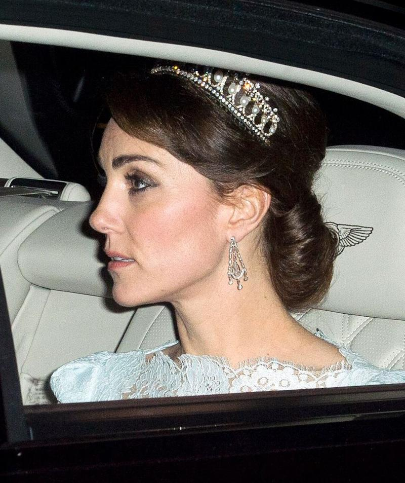 Kate wore the Lovers Knot tiara last night, which was one of Princess Dianas favourite headpieces. [Photo Rex]. The Duchess of Cambridge