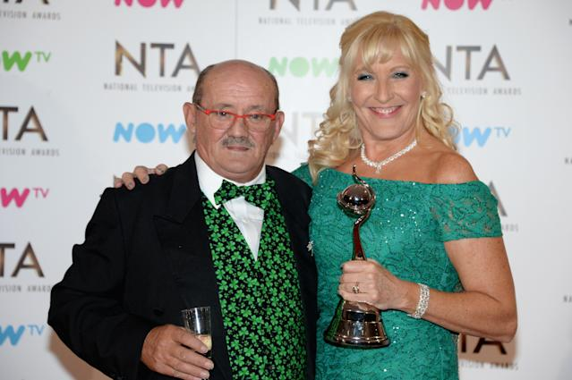 Brendan and Jennifer O'Carroll at the 2017 National Television Awards, where they won the Best Comedy Award for <em>Mrs Brown's Boys</em>. (Anthony Harvey/Getty Images)