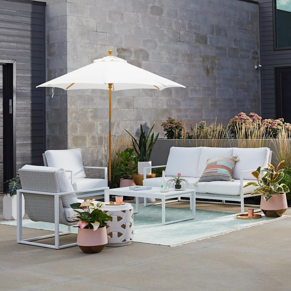 <p>The <span>MoDRN Glam Ava 4-Piece Aluminum Sunbrella Cushioned Conversation Set</span> ($1,700) is ready for a Summer party. The authentic Sunbrella fabric means it won't get damaged easily, and what's better than that?</p>