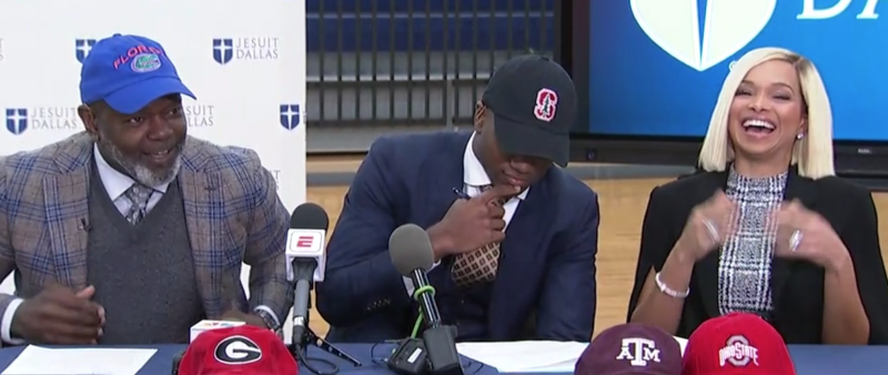 EJ Smith (center) chose Stanford on Wednesday. (via ESPN2)