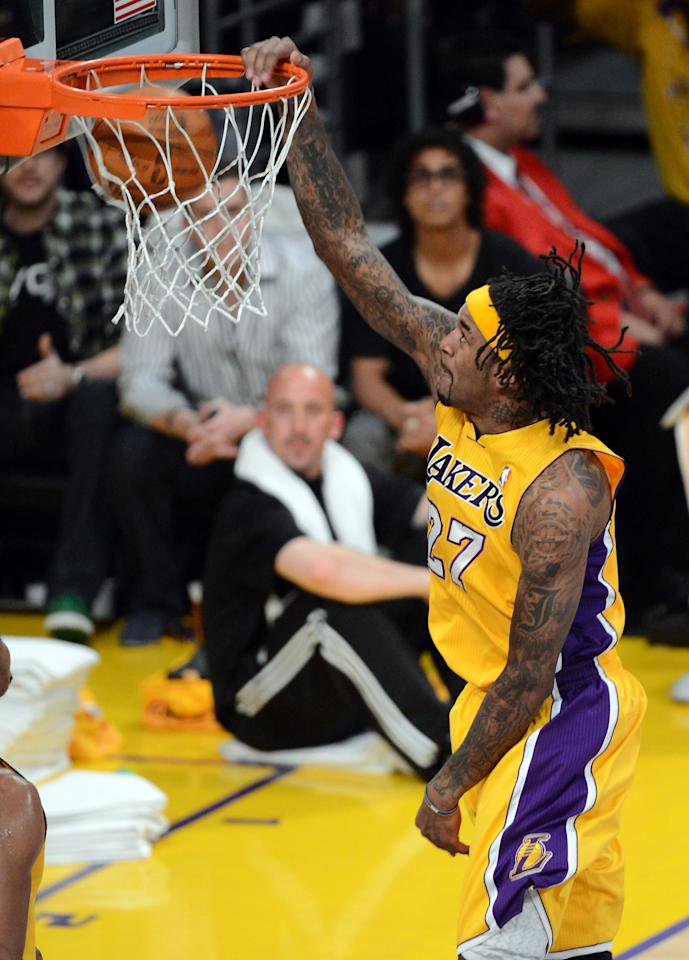 LOS ANGELES, CA - MAY 12:  Jordan Hill #27 of the Los Angeles Lakers goes up for a dunk in the first half against the Denver Nuggets in Game Seven of the Western Conference Quarterfinals in the 2012 NBA Playoffs on May 12, 2012 at Staples Center in Los Angeles, California. NOTE TO USER: User expressly acknowledges and agrees that, by downloading and or using this photograph, User is consenting to the terms and conditions of the Getty Images License Agreement.  (Photo by Kevork Djansezian/Getty Images)