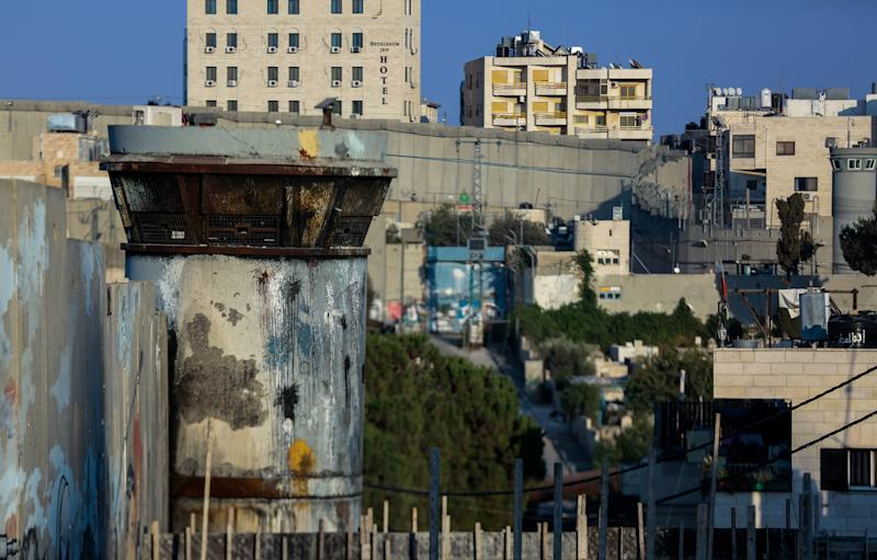 A view from inside the Palestinian refugee camp Aida of the West Bank barrier built by Israel. The camp, built in 1950, is located near Bethlehem.