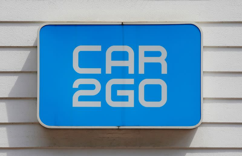 The logo of carsharing company Car2go is seen at its headquarters in Vienna