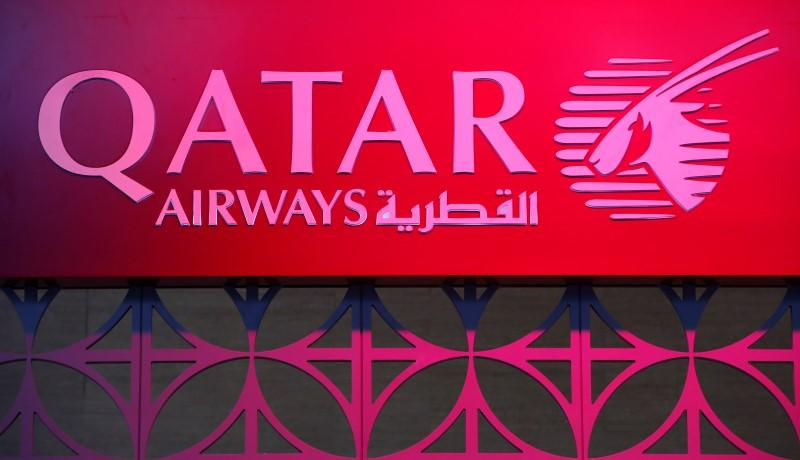 The logo of Qatar Airways is pictured at the International Tourism Trade Fair (ITB) in Berlin