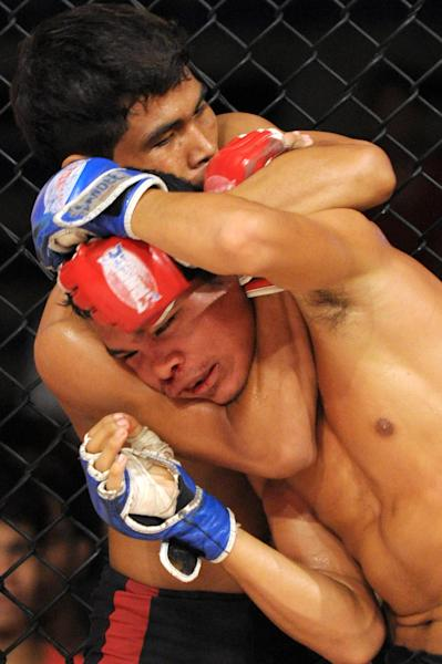 Two men fight in a Cambodian cage fight for a local television programme at a stadium in Phnom Penh, August 24, 2014 (AFP Photo/Tang Chhin Sothy)