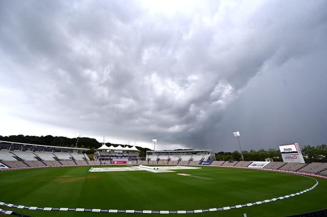 The storms took control at the Ageas Bowl (Glyn Kirk/PA)
