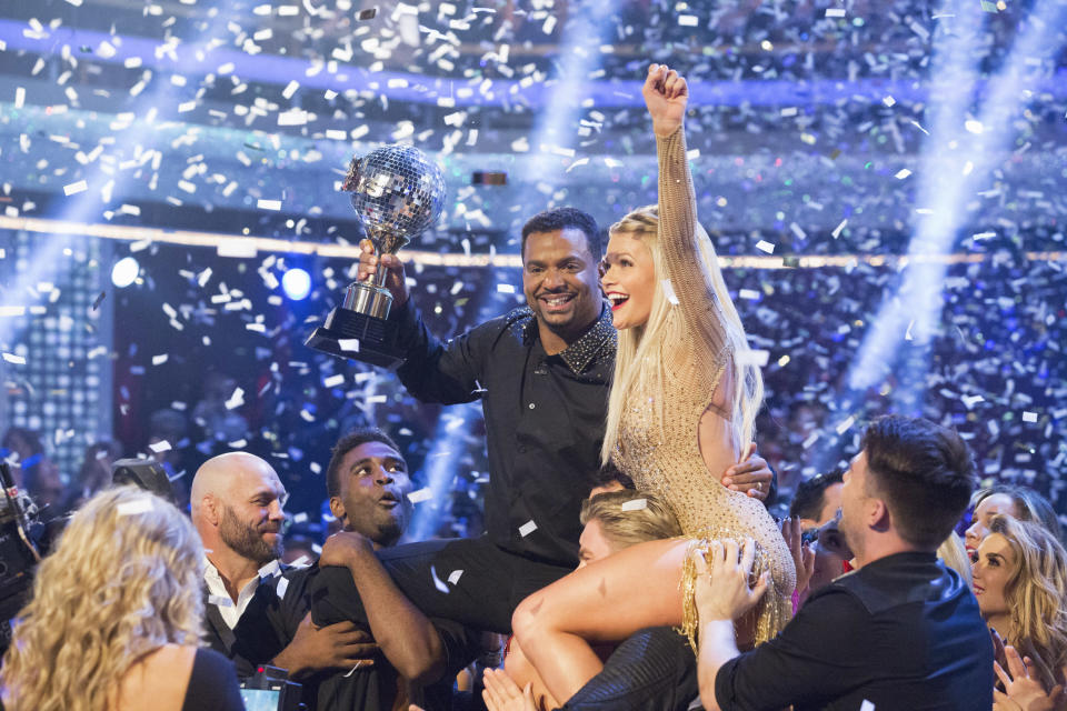 Alfonso Ribeiro and Witney Carson were crowned the Season 19 Champions on the season finale of <em>Dancing with the Stars</em>. (Photo: Kelsey McNeal/ABC via Getty Images)