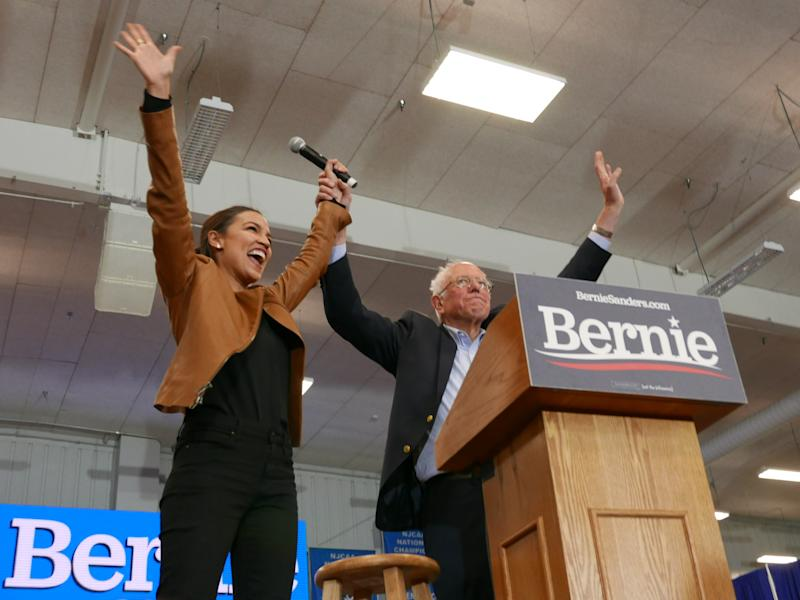 Democratic presidential candidate Sen. Bernie Sanders, I-Vt., and Rep. Alexandria Ocasio-Cortez, D-N.Y., greet supporters on the campus of Iowa Western Community College in Council Bluffs, Iowa, Nov. 8, 2019. (Photo: Hunter Walker/Yahoo News)
