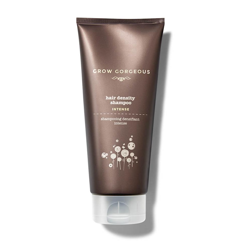 """<h3>Grow Gorgeous Hair Density Shampoo Intense<br></h3><br>Formulated with amino acids (which """"can add bulk and body to strands,"""" according to Kingsley) and caffeine (""""thought to stimulate blood supply, feed the follicle and improve hair growth,"""" says Yates), this shampoo also taps biotin to target thinning hair.<br><br><strong>Grow Gorgeous</strong> Hair Density Shampoo Intense, $, available at <a href=""""https://go.skimresources.com/?id=30283X879131&url=https%3A%2F%2Fwww.target.com%2Fp%2Fgrow-gorgeous-intense-hair-density-shampoo-6-4-fl-oz%2F-%2FA-51361224"""" rel=""""nofollow noopener"""" target=""""_blank"""" data-ylk=""""slk:Target"""" class=""""link rapid-noclick-resp"""">Target</a>"""