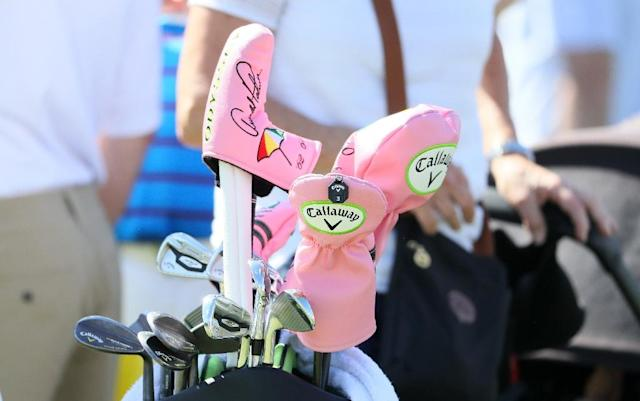 Headcovers honoring Arnold Palmer and his Masters' wins are seen during a practice round prior to the start of the 2017 Masters Tournament at Augusta National Golf Club on April 4, 2017 in Augusta, Georgia (AFP Photo/Andrew Redington)