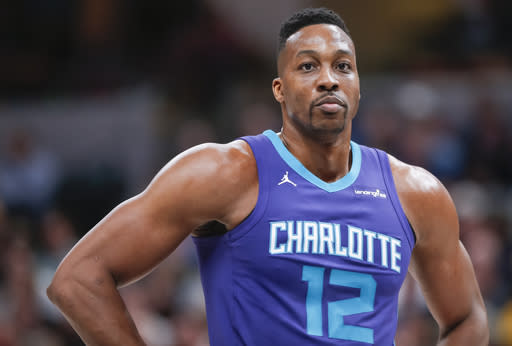 "<a class=""link rapid-noclick-resp"" href=""/nba/players/3818/"" data-ylk=""slk:Dwight Howard"">Dwight Howard</a> was traded to the <a class=""link rapid-noclick-resp"" href=""/nba/teams/bro"" data-ylk=""slk:Brooklyn Nets"">Brooklyn Nets</a> on Wednesday. (Getty)"
