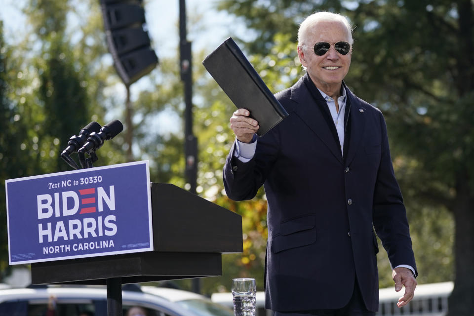 Joe Biden turns from the podium after speaking during a campaign event at Riverside High School in Durham, N.C., Sunday, Oct. 18, 2020. (Carolyn Kaster/AP)