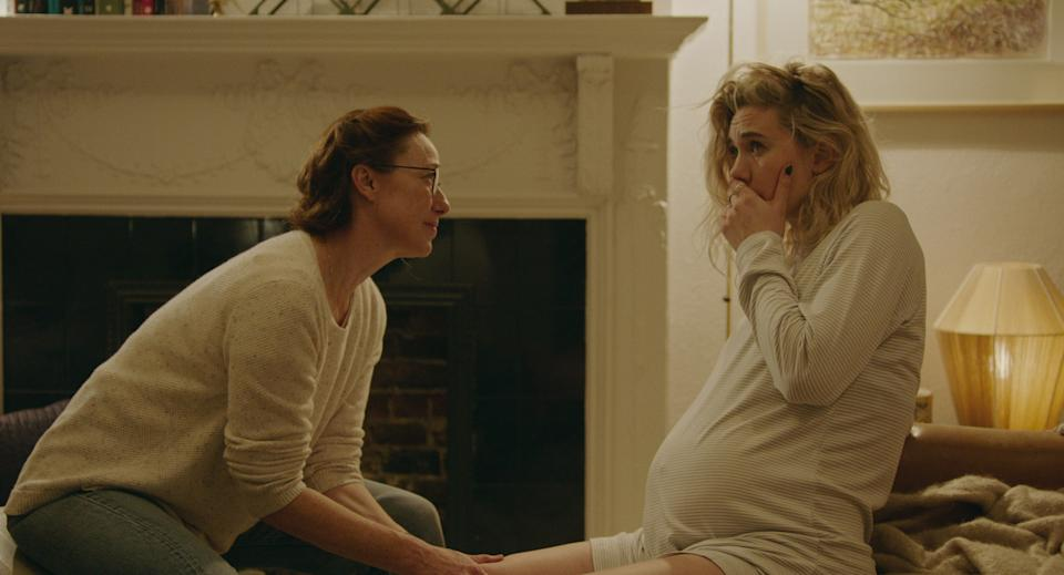 <p>The midwife Martha (Vanessa Kirby) chose to assist with her home birth isn't available, and her replacement, Eve (Molly Parker), arrives with a small, placid smile</p>Netflix