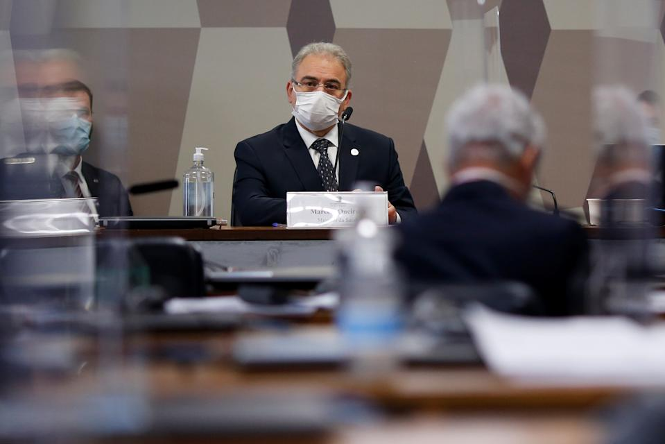Brazil's Health Minister Marcelo Queiroga attends a meeting of the Parliamentary Inquiry Committee (CPI) to investigate government actions and management during the coronavirus disease (COVID-19) pandemic, at the Federal Senate in Brasilia, Brazil June 8, 2021. REUTERS/Adriano Machado