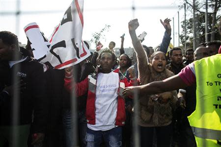 African migrants take part in a protest at Rabin Square in Tel Aviv January 5, 2014. REUTERS/Nir Elias
