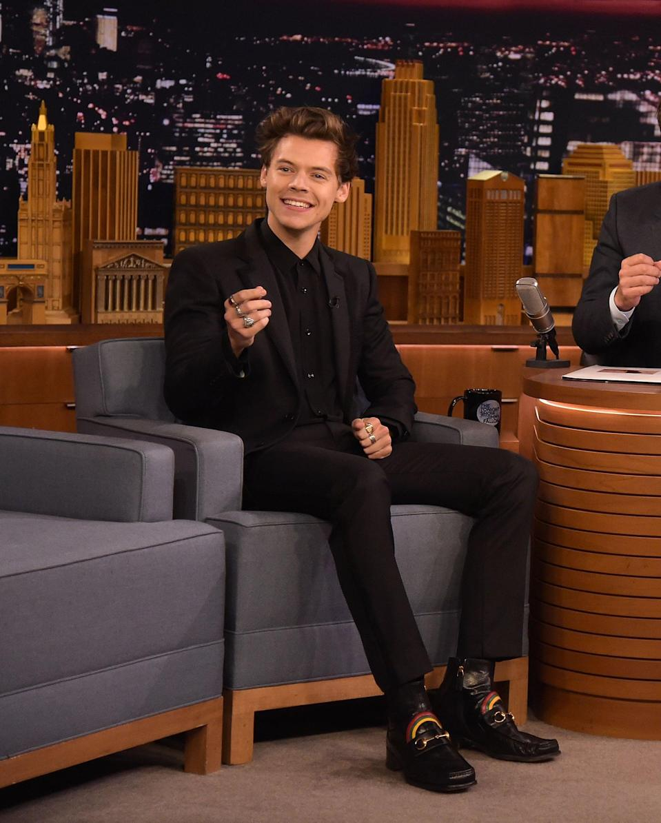 """<p>Wearing a pair of amazing rainbow-adorned Gucci loafers while on <strong>The Tonight Show Starring <a class=""""link rapid-noclick-resp"""" href=""""https://www.popsugar.com/Jimmy-Fallon"""" rel=""""nofollow noopener"""" target=""""_blank"""" data-ylk=""""slk:Jimmy Fallon"""">Jimmy Fallon</a></strong> in 2017.</p>"""
