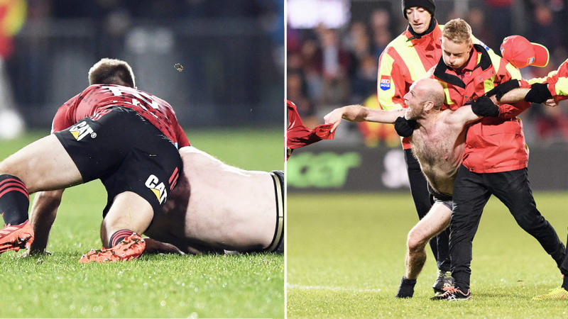 A streaker is tackled by Braydon Ennor of the Crusaders (pictured left) and carried off the field by security (pictured right). (Getty Images)