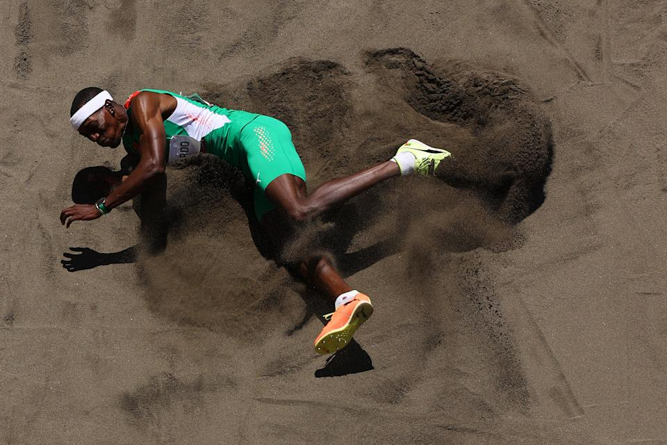 <p>Pedro Pichardo of Team Portugal competes in the Men's Triple Jump Final on day thirteen of the Tokyo 2020 Olympic Games at Olympic Stadium on August 05, 2021 in Tokyo, Japan. (Photo by Richard Heathcote/Getty Images)</p>