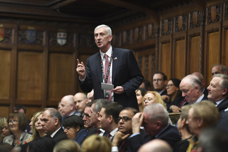 In this handout image provided by the House of Commons, one of the candidates for the role of Speaker of the House, Lindsay Hoyle, speaks in the House of Commons, London, Monday, Nov. 4, 2019. British lawmakers were electing a new House of Commons speaker on Monday, with the seven contenders promising to bring a period of calm after the tempestuous tenure of the influential but controversial John Bercow. (Jessica Taylor/House of Commons via AP)