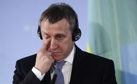 Ukrainian Foreign Minister Deshchytsia listens to journalist's questions during news conference in Berlin