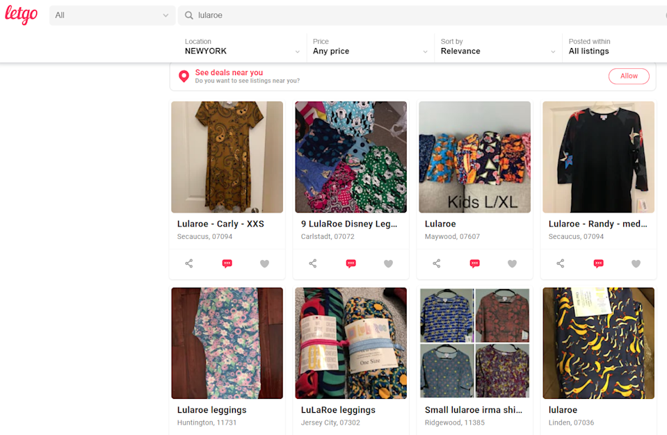 Online peer-to-peer marketplaces have often discounted listings for MLM products. (Screenshot LetGo)