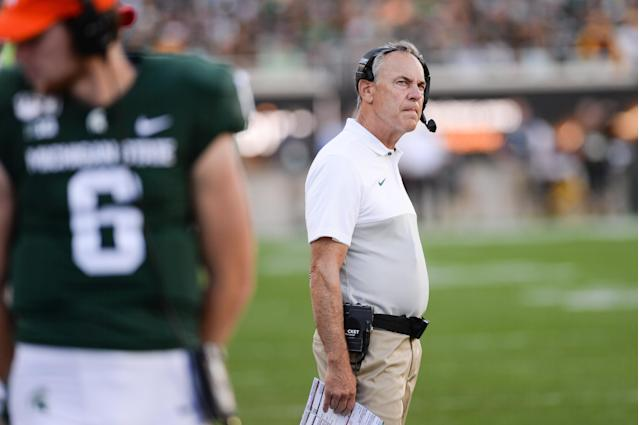 Michigan State head coach Mark Dantonio looks on in the 4th quarter of the Spartans' loss to the Arizona State Sun Devils on Saturday. (Getty)