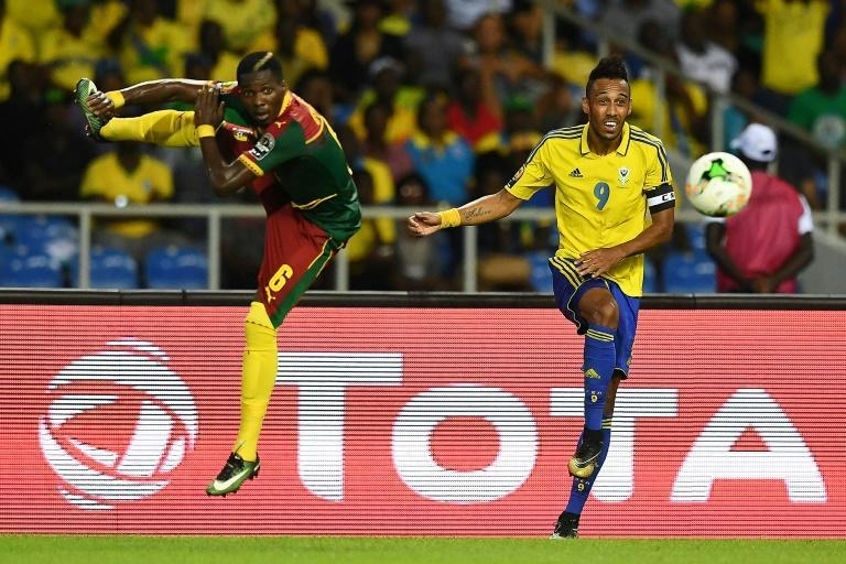 Gabon captain Pierre-Emerick Aubameyang (R) had to sleep on an airport floor in the Gambia before an Africa Cup of Nations qualifier this week.