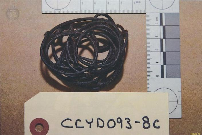 <p>Dark brown leather lacing found by police in the centre console of McArthur's 2017 van. Forensic investigators found DNA most likely belonging to McArthur and Navaratnam on the lacing, and it is believed to be another memento McArthur kept from Navaratnam after murdering him. (Photo provided by the Crown) </p>