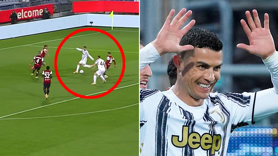 Cristiano Ronaldo is seen here celebrating his Serie A hat-trick for Juventus.