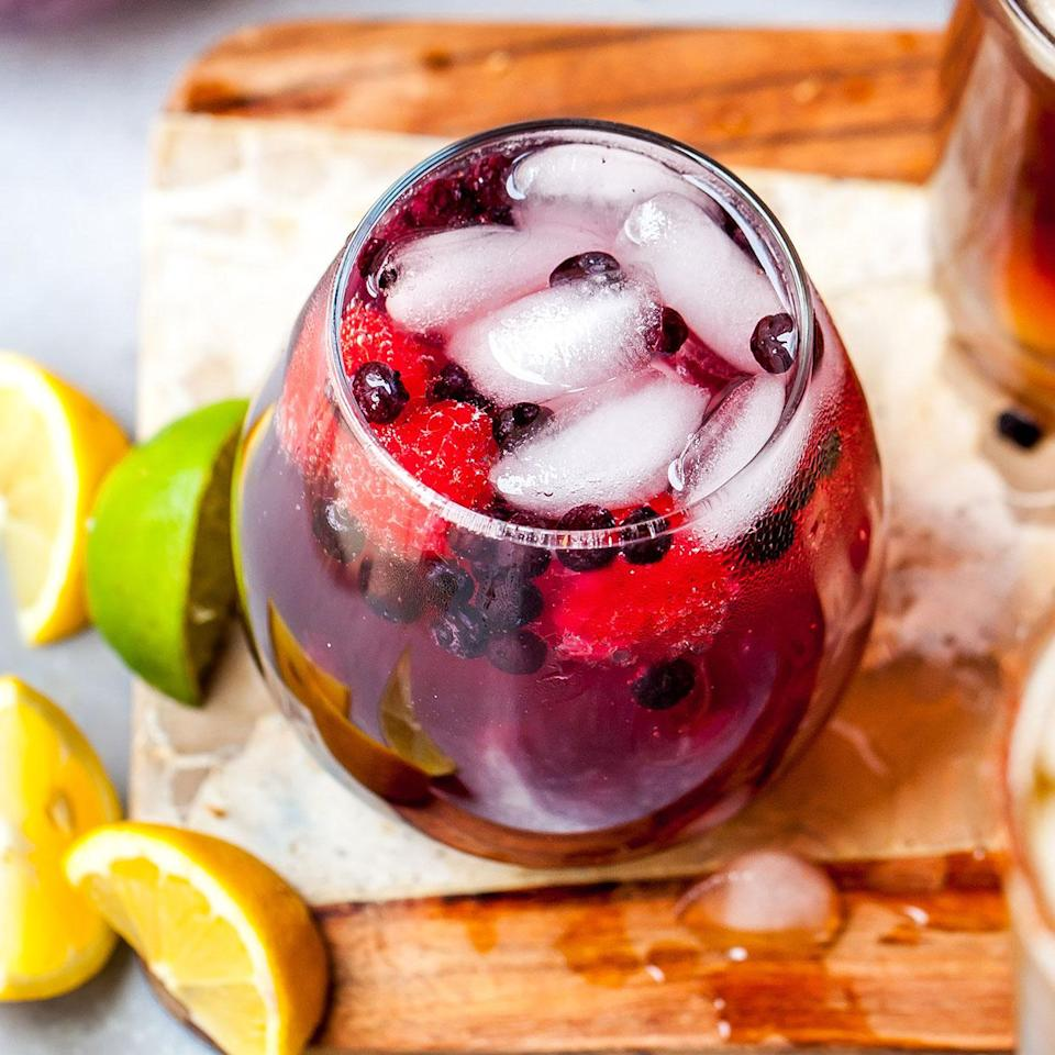 <p>This bright and bubbly sipper combines berries with vodka and seltzer to make a colorful 3-ingredient cocktail you can enjoy year-round, thanks to frozen berries. Amp up the flavor even more by using a flavored seltzer rather than plain!</p>