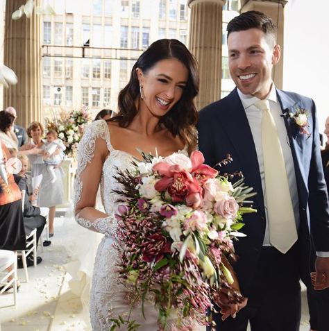 A photo of Emily Simms and Pierre Ghougassian on their wedding day in 2018.