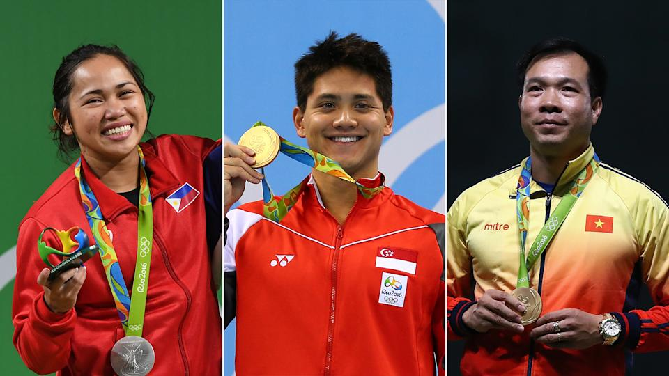 Southeast Asian Olympians at the Tokyo Olympics: (from left) the Philippines' Hidilyn Diaz, Singapore's Joseph Schooling and Vietnam's Hoang Xuan Vinh. (PHOTO: Getty Images)