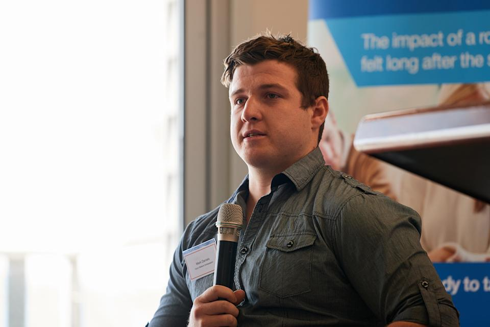 Picture of Mark Daniels now speaking at a Road Trauma WA event, sharing his story about the impacts of road trauma