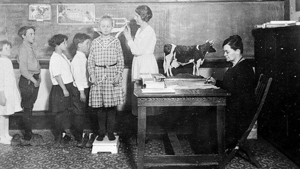 PHOTO: Schoolchildren get weighed and measured by a Red Cross nutrition worker in Cotton Plant, Arkansas, 1919. (American National Red Cross photograph collection/ Library of Congress)