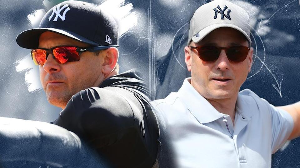 Yankees' Aaron Boone and Brian Cashman treated image