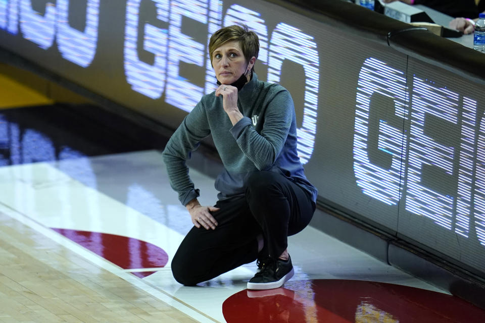 FILE - Indiana head coach Teri Moren looks on during the first half of an NCAA college basketball game against Maryland in College Park, Md., in this Monday, Jan. 4, 2021, file photo. This week, No. 9 Indiana begins a new quest — dethroning No. 7 Maryland as tourney champs in Indianapolis. (AP Photo/Julio Cortez, File)