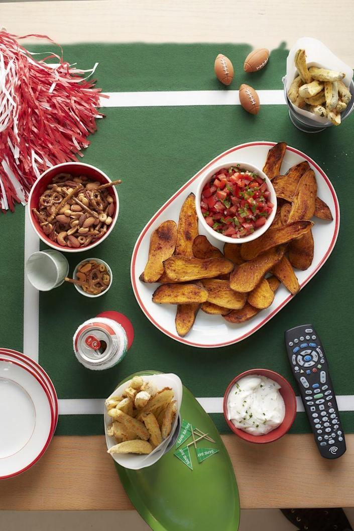 """<p>You get sweet, salty, and spicy all in one bite with this tasty new twist on potato skins. </p><p><a href=""""https://www.womansday.com/food-recipes/food-drinks/recipes/a53328/sweet-potato-skins-and-pico-de-gallo/"""" rel=""""nofollow noopener"""" target=""""_blank"""" data-ylk=""""slk:Get the Sweet Potato Skins and Pico de Gallo recipe."""" class=""""link rapid-noclick-resp""""><em>Get the Sweet Potato Skins and Pico de Gallo recipe.</em></a> </p>"""