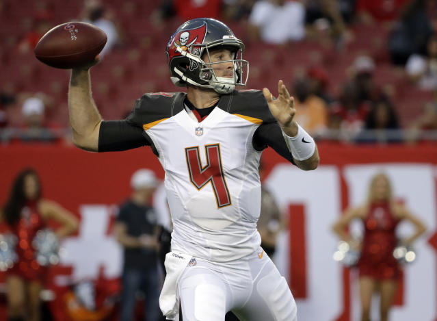 Tampa Bay Buccaneers quarterback Ryan Griffin (4) throws a pass against the Jacksonville Jaguars during the first half of an NFL preseason football game Thursday, Aug. 30, 2018, in Tampa, Fla. (AP Photo/Chris O'Meara)