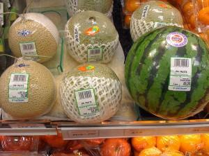 Melons in a market