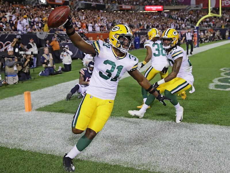 Adrian Amos foiled his former team, intercepting a pass in the end zone late to give the Packers a 10-3 win. (Getty Images)