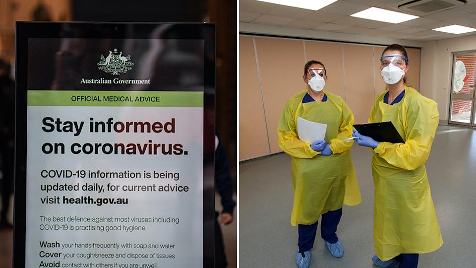 Picture of a sign encouraging people to stay informed about the coronavirus and two staff members wearing masks at at new coronavirus clinic in South Australia