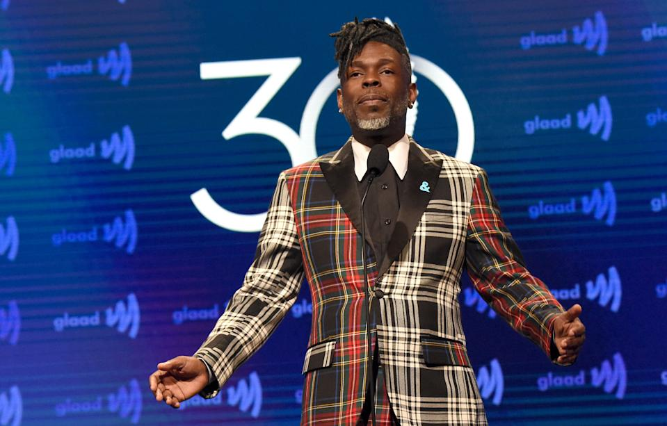 HIV educator Morris Singletary, speaking onstage at the 30th Annual GLAAD Media Awards Los Angeles in March, 2019. (Photo: Kevin Mazur/Getty Images for GLAAD)