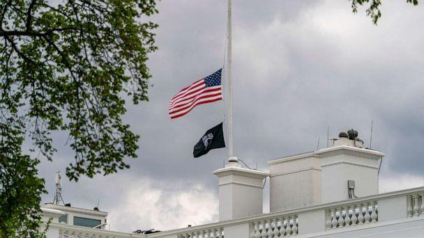 PHOTO: The American flag files at half-staff above the White House in Washington, D.C., April 16, 2021. (Andrew Harnik/AP)