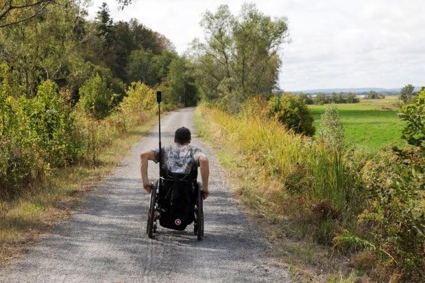 Paralympic athlete Ben Brown mapped the trail on the Harvest Moon Trailway in Wolfville, N.S.