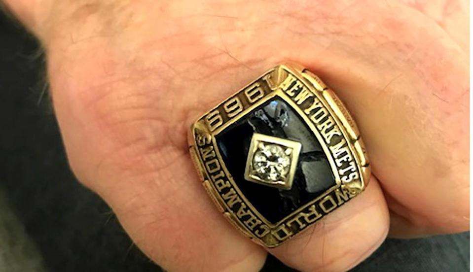 Rod Gaspar displays the 1969 World Series championship ring he won with the New York Mets.