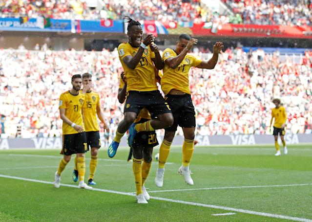 Soccer Football - World Cup - Group G - Belgium vs Tunisia - Spartak Stadium, Moscow, Russia - June 23, 2018 Belgium's Michy Batshuayi celebrates scoring their fifth goal with team mates REUTERS/Carl Recine TPX IMAGES OF THE DAY